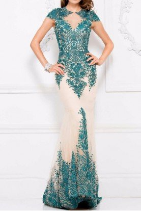 3044 Illusion flower applique nude teal gown dress