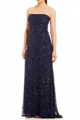 Adrianna Papell Strapless Sequin Beaded Dress Navy Train