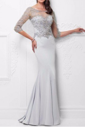 Ice Silver 117910 Quarter Sleeve Hand Beaded Gown