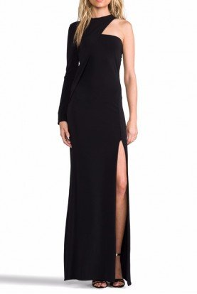 Black Long Sleeve Cutout High Slit Column Gown