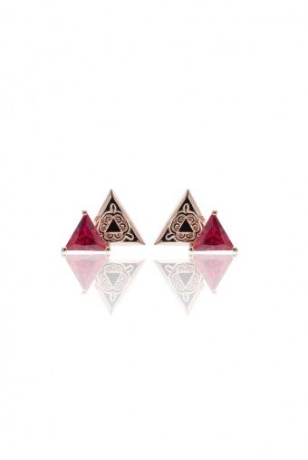 Sandugash Gallo Jewelry AYA Rose Gold Plated Stud Earrings
