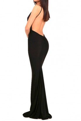 Celine Midnight Black Gown Open Back