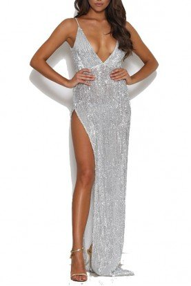 Beverly Silver sequin dress high slit evening gown
