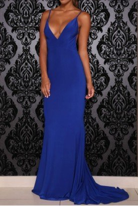 Chile Open Back Gown in Royal Blue Evening Dress