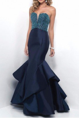 11253 Strapless Shimmering Detail Evening Gown
