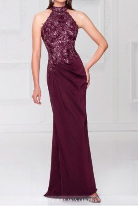 Mon Cheri Burgundy Halter Lace Chiffon Gown Mother of Bride