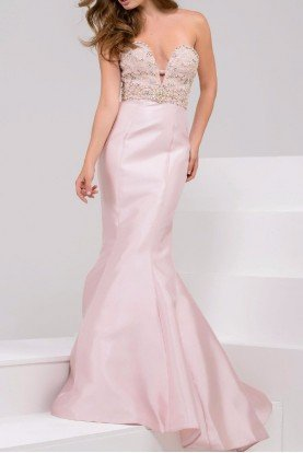 21926 blush strapless evening gown jeweled details