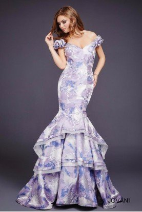 Jovani 39241 Off Shoulder Ruffled Mermaid Dress Lavender