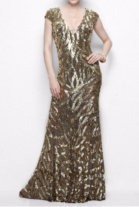 Primavera Couture Flowing bronze and gold gown evening dress 9927