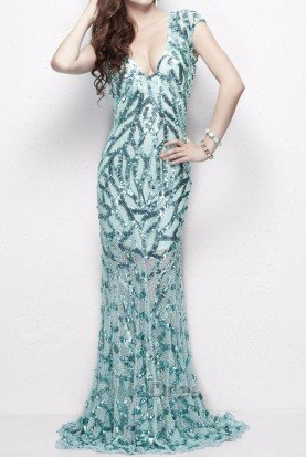 Flowing cap sleeve gown with fluted skirt in Aqua