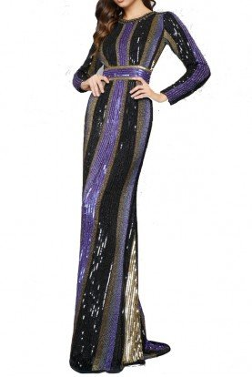 4487 Long sleeve black gold beaded evening gown