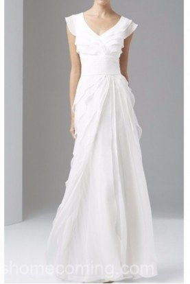 Tiered Silk Chiffon Wedding Gown Ivory White