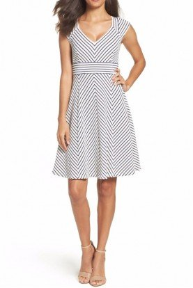 Adrianna Papell cap sleeve chevron stripe print fit flare dress