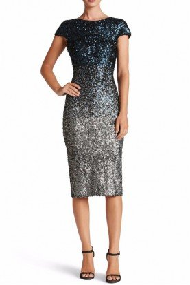 Marcella Navy Silver Ombre Sequin Midi Dress