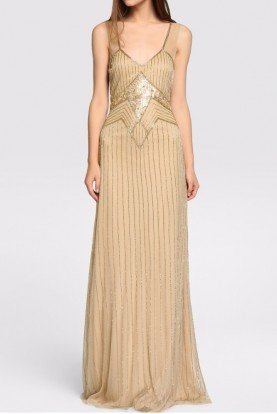 Tintoretto  Champagne Gold V Neck Beaded Gown Dress Art Deco