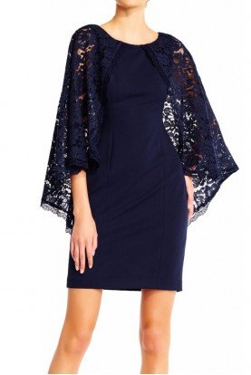 Sheath cocktail dress with sheer lace cape in Navy