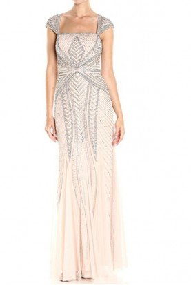 Envelope Cap Sleeve Beaded Geometric Gown Shell