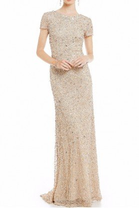 Cap Sleeve Beaded Scoop Back Champagne Gold Dress