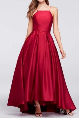 Ruby Red Satin Ball Gown Dress Prom Formal