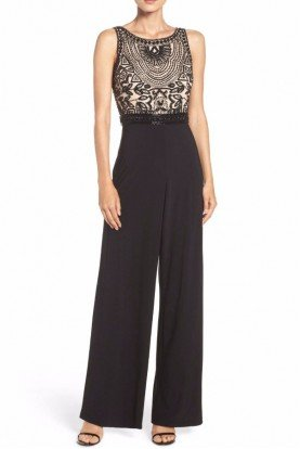 Embellished Beaded Colorblock Dressy Jumpsuit