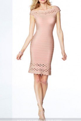 Mon Cheri Off Shoulder Bandage Dress  Herve Leger Style Nude