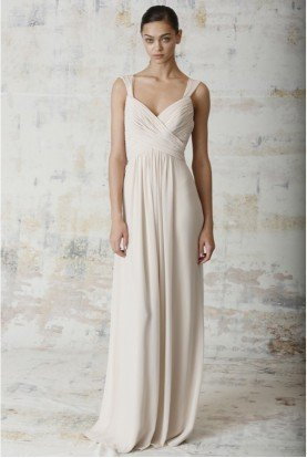 450231 Champagne  Bridesmaid Gown Slim A Line