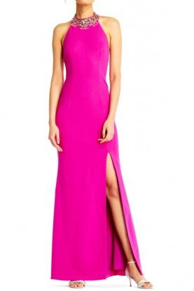 Adrianna Papell Crepe Halter Mermaid Jeweled Neckline Hot Pink