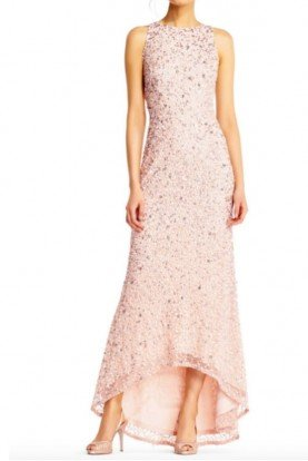 High Low Sequin Beaded Halter Gown Dress in Blush