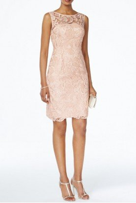 Adrianna Papell Blush Lace Sheath Dress Cocktail Day