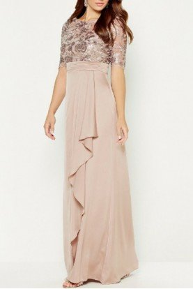 Modest Champagne Elbow Sleeve Beaded gown