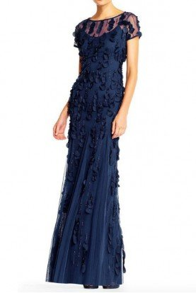 Adrianna Papell Laser Cut Petal Applique Blue Silk Evening Gown
