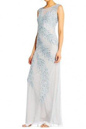 Beaded Gown Heather blue silver