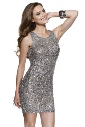 Shail K Sequin Beaded Silver Cocktail Dress NYE Party