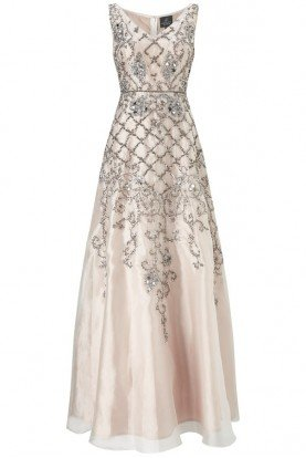 Adrianna Papell Organza Beaded Ivory Evening Dress Bridal Gown