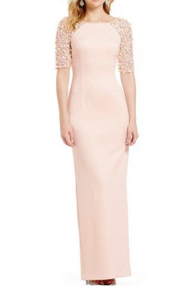 Adrianna Papell Beaded Stretch Knit Column Gown Blush Short Sleeve