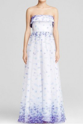 Adrianna Papell Blue Strapless Floral Print Chiffon Ball Gown
