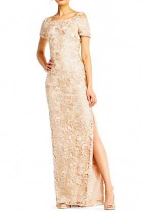 Adrianna Papell Champagne Nude Lace Column Dress Cold Shoulder