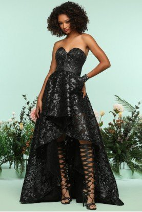 Zoey Grey Fierce A Line Black Lace Corset Hi Low Gown Dress