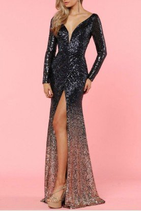 Long Sleeve Sequin Beaded Navy Gold Ombre Gown