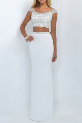 Embellished Two Piece White Prom Dress Formal Gown