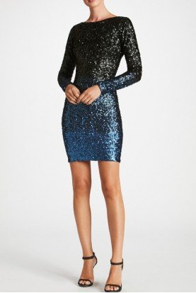 Sequin Long Sleeve Lola Navy Ombre Cocktail Dress