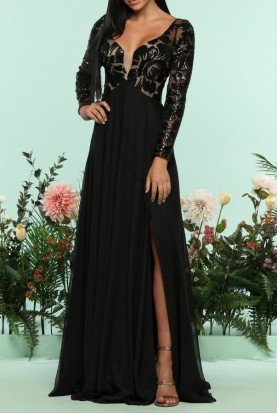 Zoey Grey Black Sequin Lace Ball Gown Isabella Formal Dress