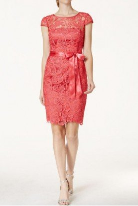Cap Sleeve Illusion Lace Dress French Coral