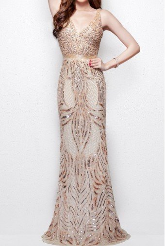 Primavera Couture 3061 Plunging Open Back Formal Evening Dress Blush