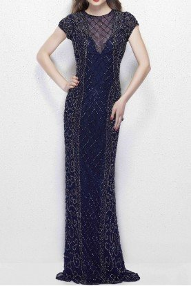 1976 Navy Midnight Beaded Illusion Evening Gown