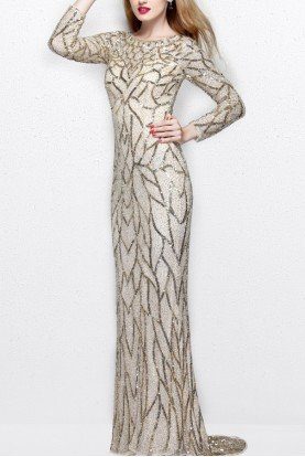 Primavera Couture 1743 Long Sleeve Sequin Beaded Nude Gold Gown