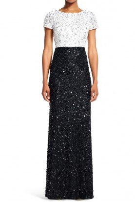 Adrianna Papell Black and White Sequin Colorblock Gown