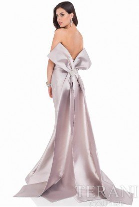 1621E1465 Taupe Mikado Strapless Gown Large Bow