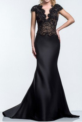 152M0637 CAP SLEEVE LACE EMBELLISHED BLACK GOWN