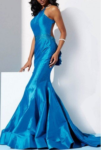 Jovani JVN33064 Blue Prom Pageant Dress Gown w Open Back